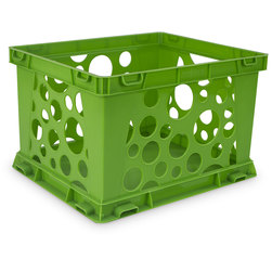 Premium Interlocking Crate - 17-1/4 in. L x 14-1/4 in. W x 10-1/2 in. H - Green