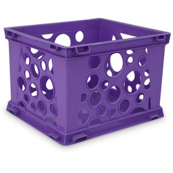 Premium Interlocking Crate - 17-1/4 in. L x 14-1/4 in. W x 10-1/2 in. H - Purple