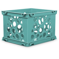 Premium Interlocking Crate - 17-1/4 in. L x 14-1/4 in. W x 10-1/2 in. H - Teal
