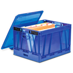 Folding Classroom Crates with Lid - Blue