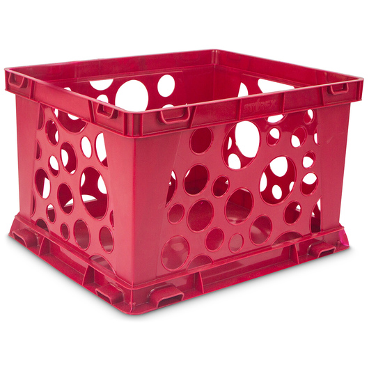 Micro Interlocking Crate - 6-3/4 in. L x 5-13/16 in. W x 4-13/16 in. H - Red