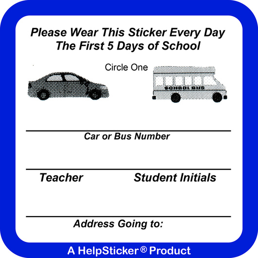 HelpSticker® - First Week of School Sticker - Pack of 500