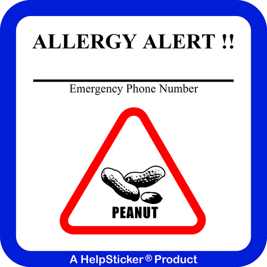 HelpSticker® - Peanut Allergy Alert Sticker - Pack of 250
