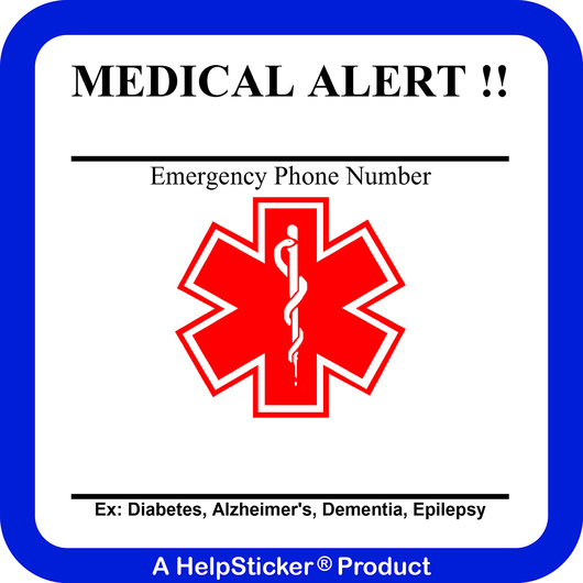 HelpSticker® - Medical Alert Sticker - Pack of 250