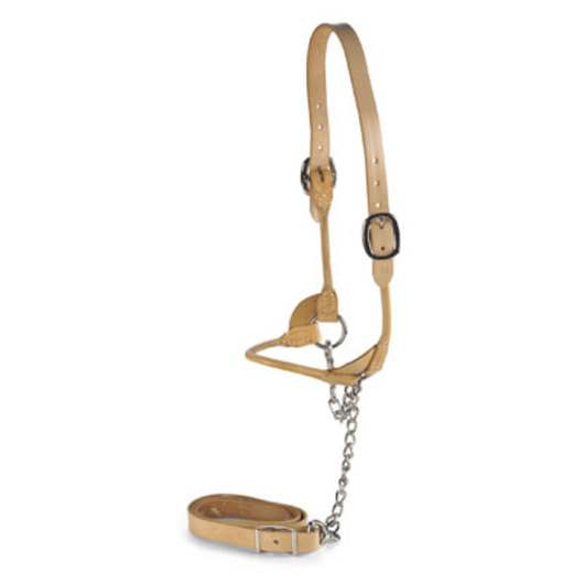 Nasco Round Strap Show Halter - Yearling - Natural