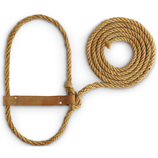 Weaver Leather Cow Halter Sisal with Leather Noseband and Attached Lead Rope