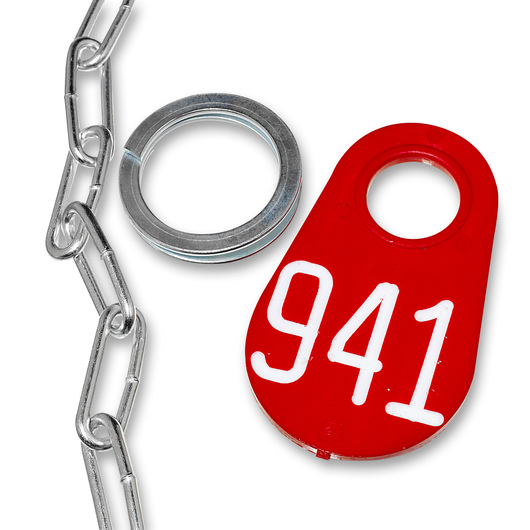 Nasco Nylon Flex Tags - Red Tag, Ring, and No. 2 Straight Chain Set - Tags With White Numbers 201-999