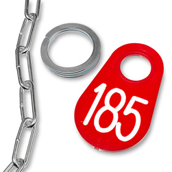 Nasco Nylon Flex Tags - with White Numbers 1-200, Ring, and No. 2 Straight Chain Set