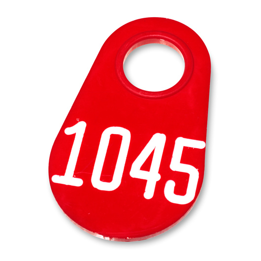 Nasco Nylon Flex Tags - Red Tags with White Numbers 1000-9999