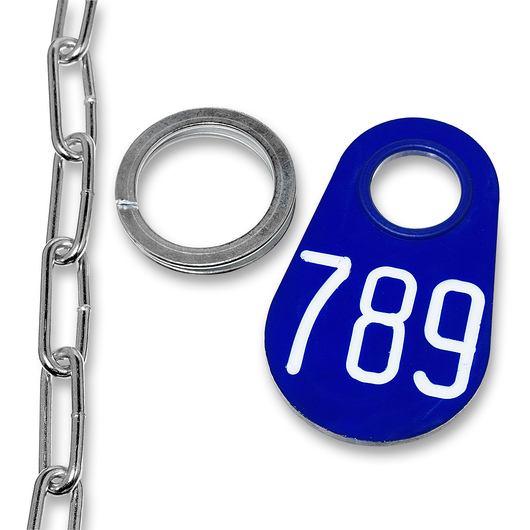 Nasco Nylon Flex Tags - Blue Tag, Ring, and No. 2 Straight Chain Set - Tags With White Numbers 201-999