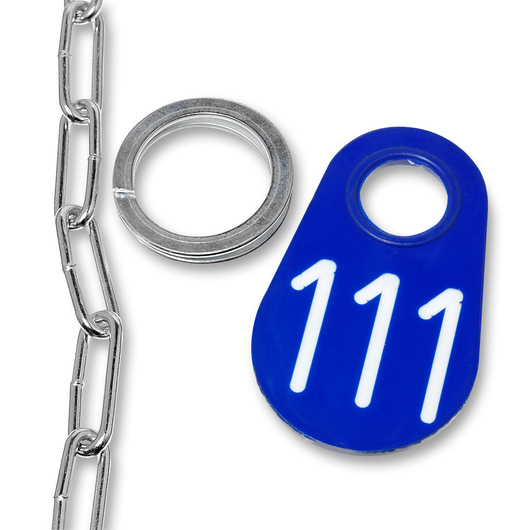 Nasco Nylon Flex Tags - Blue Tag, Ring, and No. 2 Straight Chain Set - Tags With White Numbers 1-200