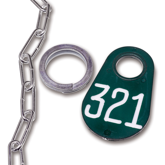 Nasco Nylon Flex Tags - Green Tag, Ring, and No. 2 Straight Chain Set - Tags with White Numbers 201-999