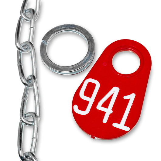 Nasco&#8217s Nylon Flex Tags - Red Tag, Ring, and #1 Twist Link Chain Set with White Numbers 201-999