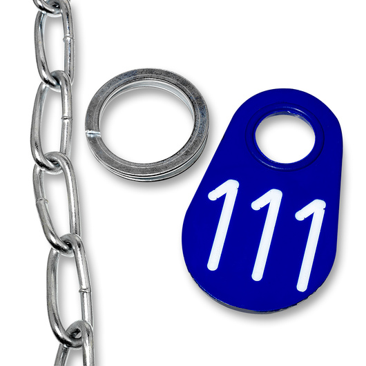Nasco Nylon Flex Tags - Blue Tag, Ring, and #1 Twist Link Chain Set with White Numbers 1-200