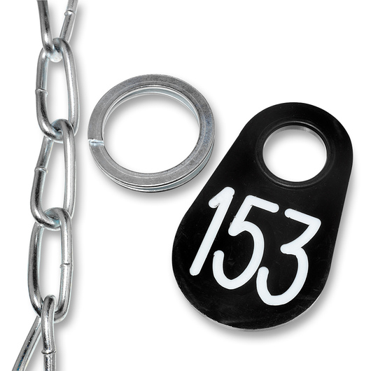 Nasco Nylon Flex Tags - Black Tag, Ring, and #1 Twist Link Chain Set with White Numbers 1-200
