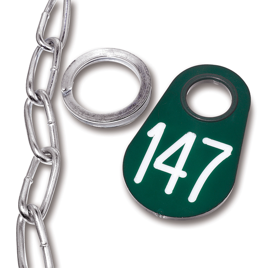 Nasco Nylon Flex Tags - Green Tag, Ring, and #1 Twist Link Chain Set with White Numbers 1-200