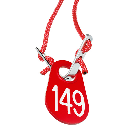 Nasco Red Nylon Flex Tag Set with 54 in. Rope and Fastener - White Numbers 1-200