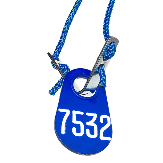 Nasco Blue Nylon Flex Tag Set with 45 Rope and Fastener - White Numbers 1000-9999