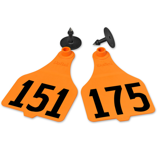 Destron Fearing™ Extra Large Numbered Tags (with Studs) - Orange, Numbers 151-175