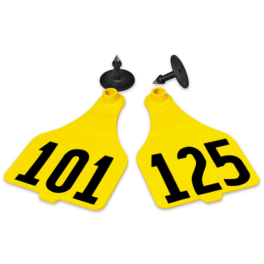 Destron Fearing™ Extra Large Numbered Tags (with Studs) - Yellow, Numbers 101-125