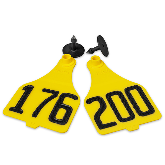 Destron Fearing™ Extra Large Numbered Tags (with Studs) - Yellow, Numbers 176-200