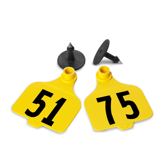 Destron Fearing™ Large Numbered Tags (with Studs) - Yellow, Numbers 51-75