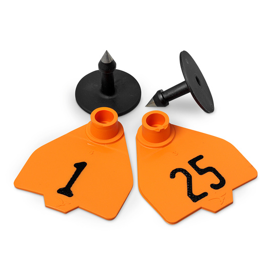 Destron Fearing™ Medium Numbered Tags (with Studs) - Orange, Numbers 1-25