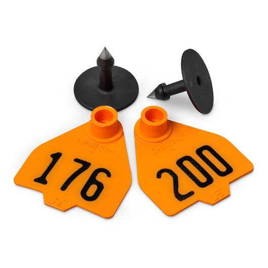 Destron Fearing™ Medium Numbered Tags (with Studs) - Orange, Numbers 176-200