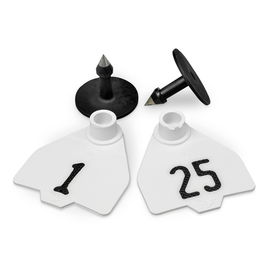 Destron Fearing™ Medium Numbered Tags (with Studs) - White, Numbers 1-25