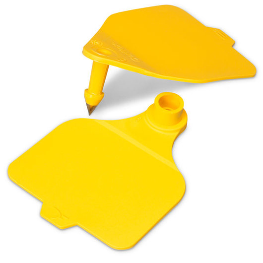 Destron Fearing™ Large Double Panel Blank Tags (with Studs) - Yellow, Pack of 25