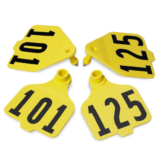 Destron Fearing™ Large Double Panel Numbered Tags (with Studs) - Yellow, Numbers 101-125
