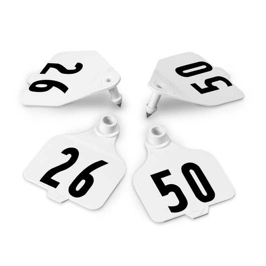 Destron Fearing™ Large Double Panel Numbered Tags (with Studs) - White, Numbers 26-50