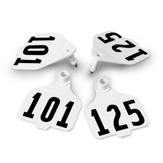 Destron Fearing™ Large Double Panel Numbered Tags (with Studs) - White, Numbers 101-125