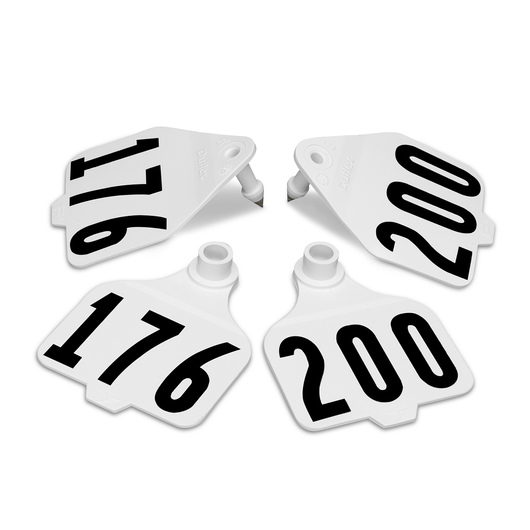 Destron Fearing™ Large Double Panel Numbered Tags (with Studs) - White, Numbers 176-200