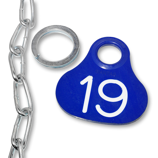 Nasco Giantag - Blue Giantag, Ring, and #1 Twist Link Chain Set, Tags Numbered 1-100