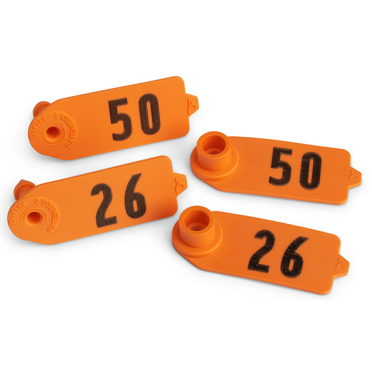 Destron Fearing™ Sheep/Goat Numbered Tags - Orange, Numbers 26-50