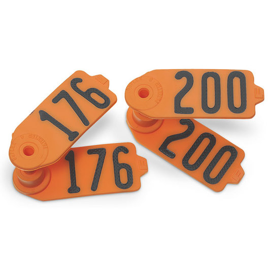 Destron Fearing™ Sheep/Goat Numbered Tags - Orange, Numbers 201-999