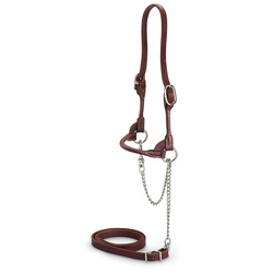 Nasco Double-Buckle Slimline Round Strap Show Halter - Chocolate