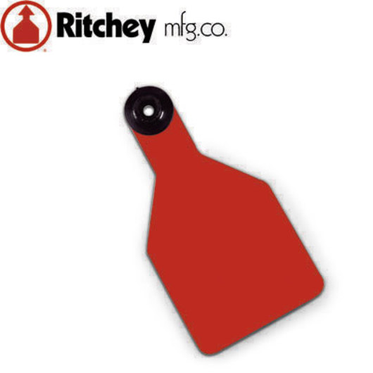 Ritchey Blank Universal Tags  Without Studs - Medium Calf - 2-1/4 in. x 4-1/2 in.  Pack of 25 - Red Tag/White Core
