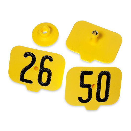 Destron Fearing™ Hog Max Numbered Hog Tags - Yellow, Numbers 26-50