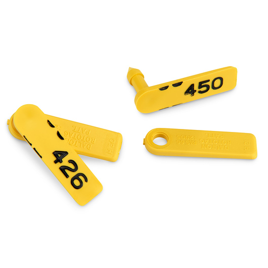 Standard Rototag - Female Blank and Male Numbered 426-450 - Yellow