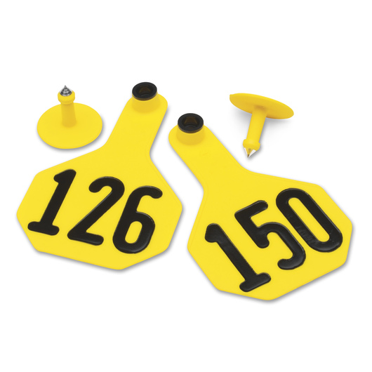 Y-TEX® Medium 2-1/2 in. x 4 in. 3-Star Ear Tags (with Studs) - Yellow, Numbered 126-150