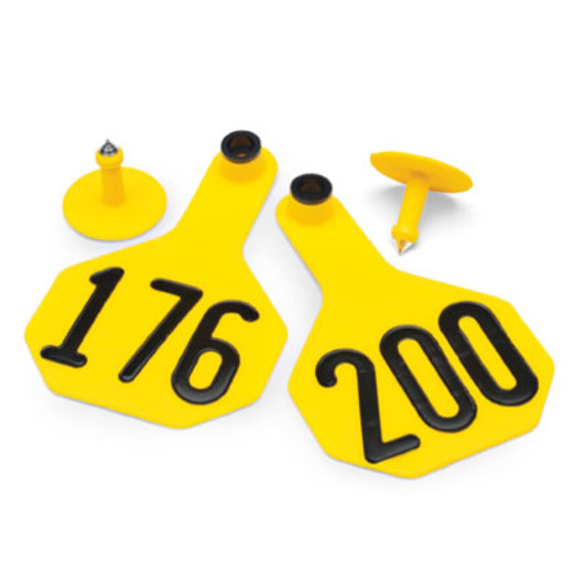 Y-TEX® Medium 2-1/2 x 4 3-Star Ear Tags (with Studs) - Yellow, Numbered 176-200
