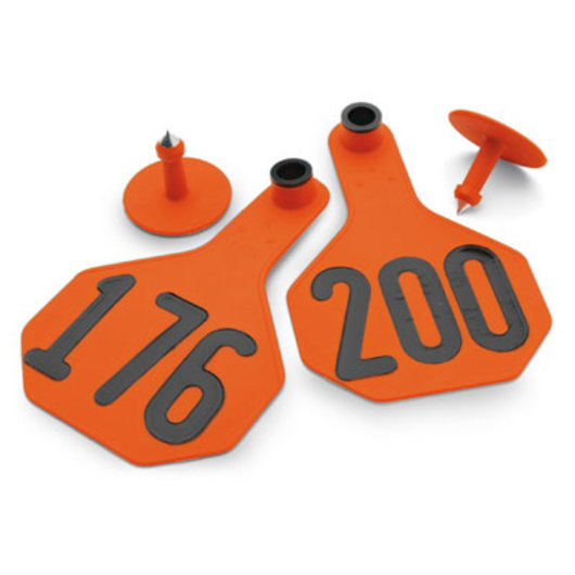 Y-TEX® Medium 2-1/2 in. x 4 in. 3-Star Ear Tags (with Studs) - Orange, Numbered 1,001-10,000