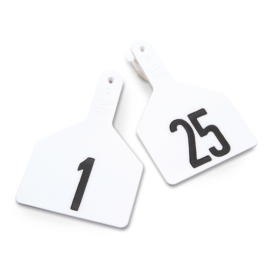 Z1 No-Snag-Tags® One-Piece Numbered Ear Tags, Cow Size 3 in. x 4-1/2 in. - White, Numbers 1-25