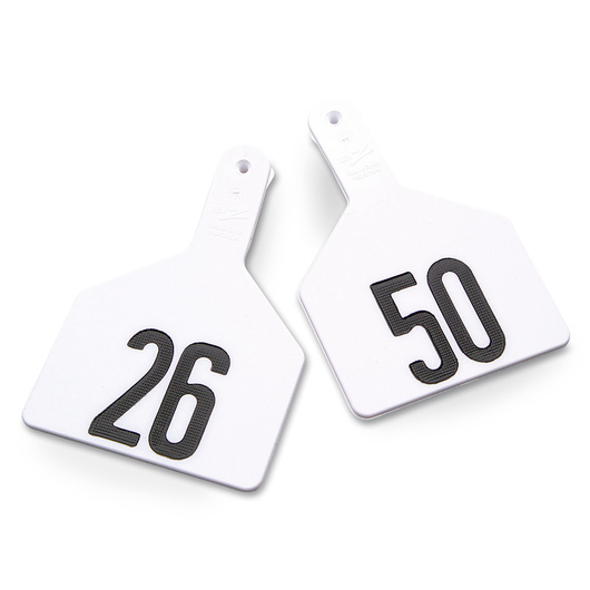 Z1 No-Snag-Tags® One-Piece Numbered Ear Tags, Cow Size 3 in. x 4-1/2 in. - White, Numbers 26-50