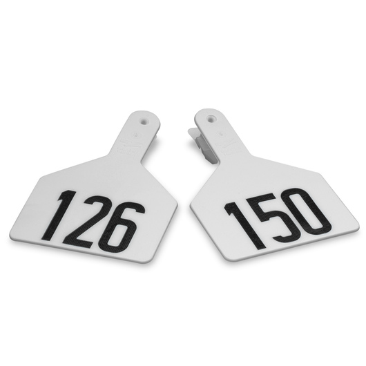 Z1 No-Snag-Tags® One-Piece Numbered Ear Tags, Cow Size 3 in. x 4-1/2 in. - White, Numbers 126-150