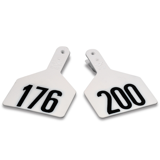 Z1 No-Snag-Tags® One-Piece Numbered Ear Tags, Cow Size 3 in. x 4-1/2 in. - White, Numbers 201+