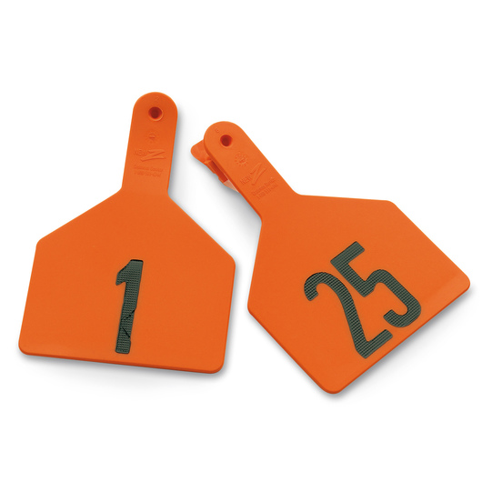 Z1 No-Snag-Tags® One-Piece Numbered Ear Tags, Cow Size 3 x 4-1/2 - Orange, Numbers 1-25