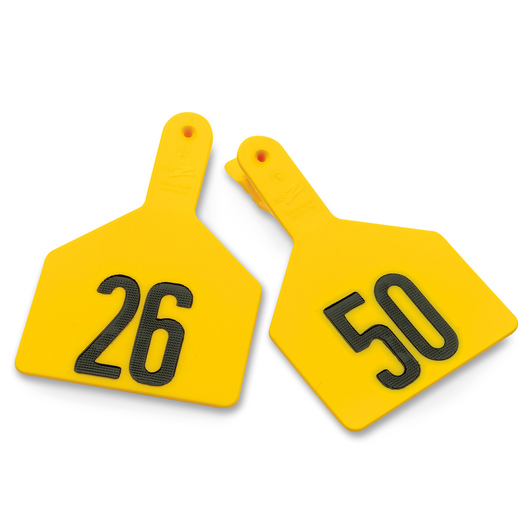 Z1 No-Snag-Tags® One-Piece Numbered Ear Tags, Cow Size 3 x 4-1/2 - Yellow, Numbers 26-50